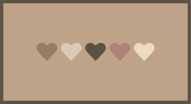 five hearts of various shades of brown and pink