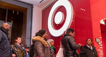 Guests enter Target's Fulton Street, Brooklyn store during its grand opening events
