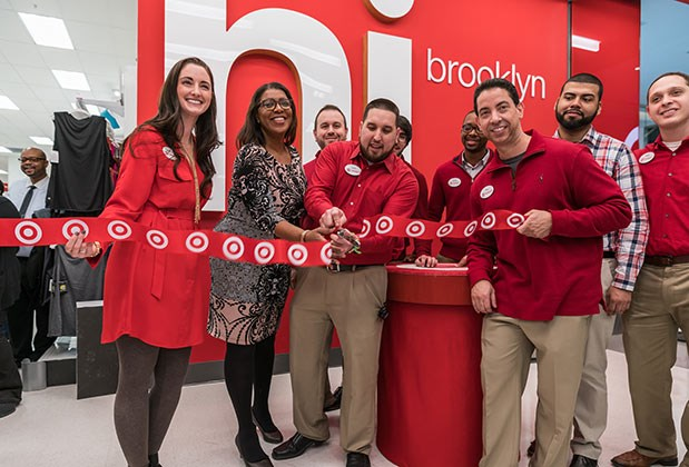 Target leaders and NYC Public Advocate Letitia James cut the ribbon at the Brooklyn opening