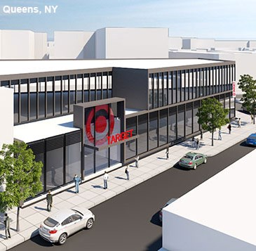 The exterior of Target's upcoming Jackson Heights, Queens, NY, store