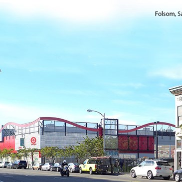 rendering of a city street with new Target store with red wavy architecture features at top