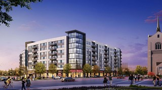 rendering of new condo building with a Target store on the bottom level