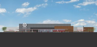 rendering of new store with gray and wood exterior and white signage