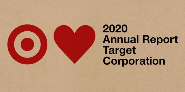 "Kraft paper background with a red bullseye and red heart next to text ""2020 Annual Report Target Corporation"""