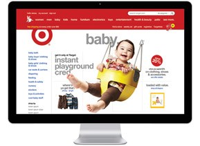 Target.com screen shot on a computer monitor