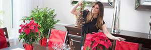 Barbara Bermudo decorating her holiday table with home decor items from Target.