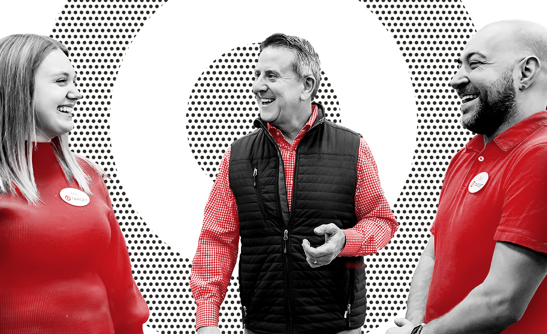 image of CEO Brian Cornell, (center) laughing alongside two Target team members