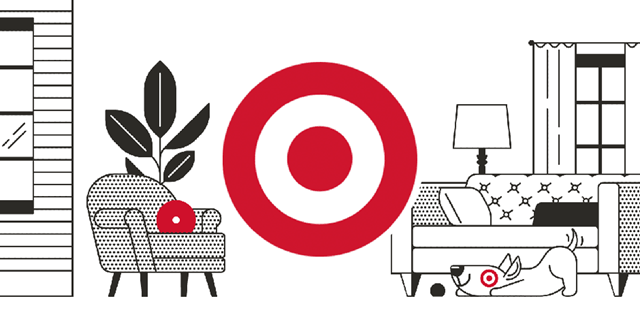 Target's red bullseye next to black furniture and a dog against a white background