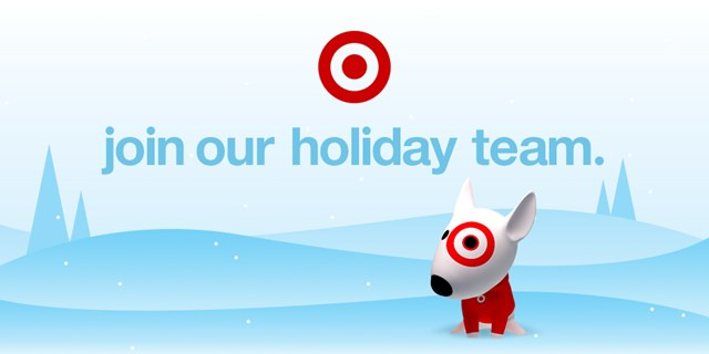 "Animated Bullseye the dog in a winter scene with the words ""join our holiday team."""
