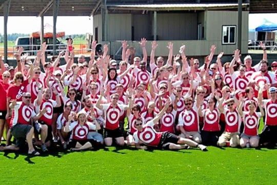 Target team members raising their hands in excitement
