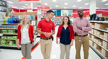 team members walk through a Target store together