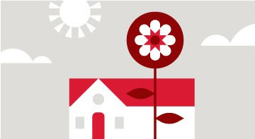 A graphic illustration of a sun, a house and a flower in red, white and gray
