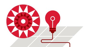 A graphic illustration of a sun, solar panels and a lightbulb in red and white