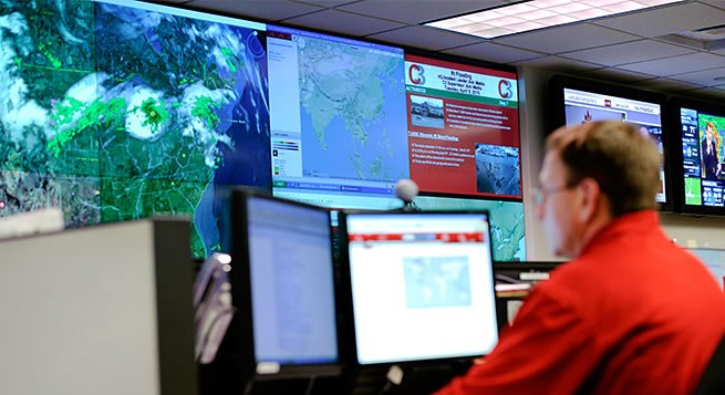A 24/7 Corporate Command Center (C3) team member monitoring various Target locations.