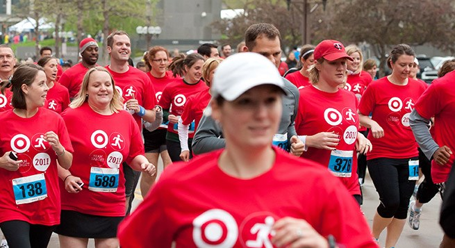 Target team members participate in a 1-mile race
