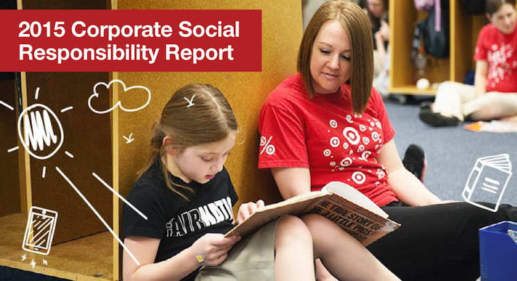 Target team member reading with child. Copy reads 2015 Corporate Social Responsibility Report.