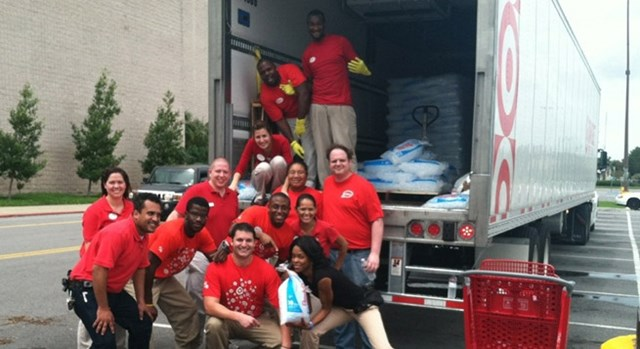 Target team members help stock ice for Hurricane Isaac relief efforts