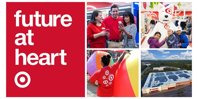 Future at Heart on a red background with photos of team members, guests and a Target store
