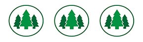 Three green circular icons with 3 pine trees in each