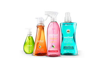 Four bottles of Method cleaning products