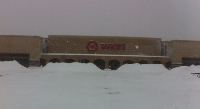 a Target store under a blanket of snow
