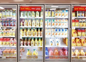 grocery freezers with juice