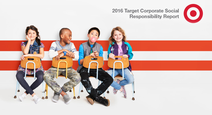 Children sitting in chairs. Copy reads 2016 Target Corporate Social Responsibility Report.