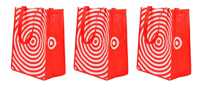 three red reusable Target shopping bags