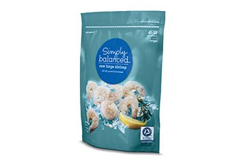 one bag of Simply Balanced shrimp