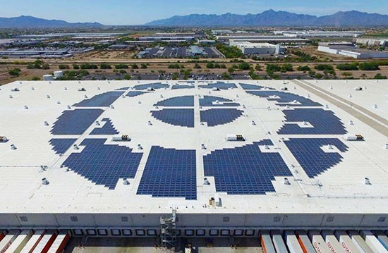 A rooftop solar grid in the shape of a bullseye