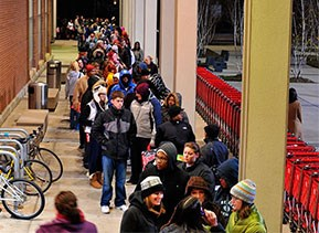 shoppers lined up outside a Target store on Black Friday