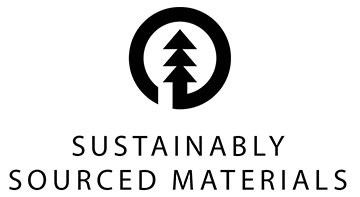 Sustainably Sourced Materials black logo on white background