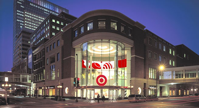 An exterior image of the Target store in downtown Minneapolis