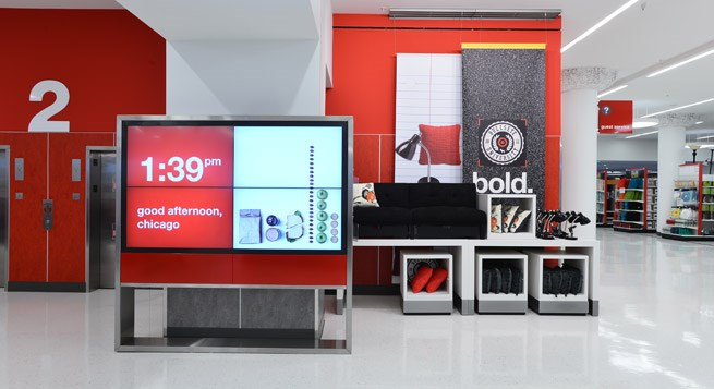 The Chicago CityTarget digital message board welcomes guests at the entrance