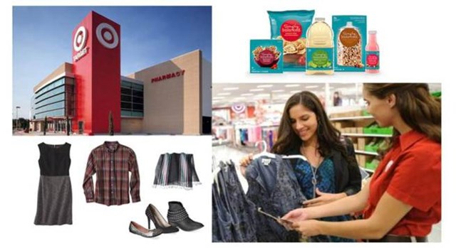 A Target Canada store, Simply Balanced and apparel products, and a guest shopping with a team member