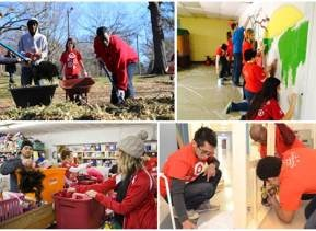 Target team members volunteering for community projects.