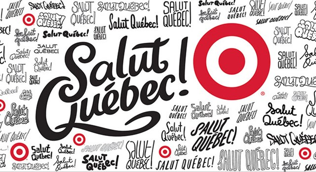 a billboard that appeared at Target's grand opening in Quebec