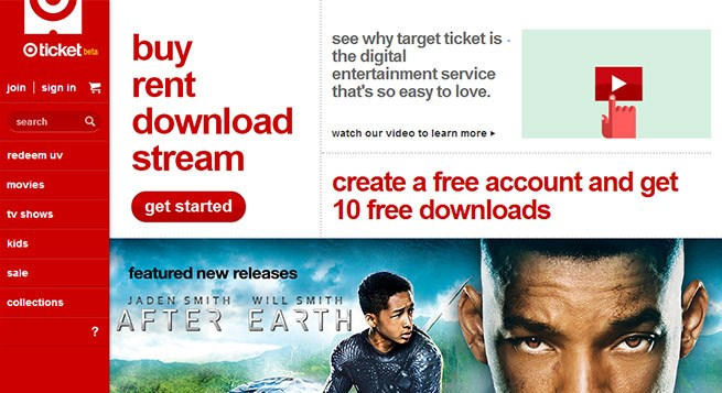 An image from the home page of Target Ticket, Target's new streaming video service
