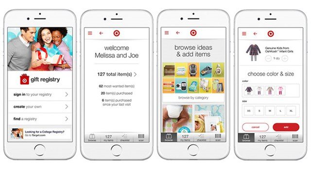 Target's redesigned gift registry on a mobile device