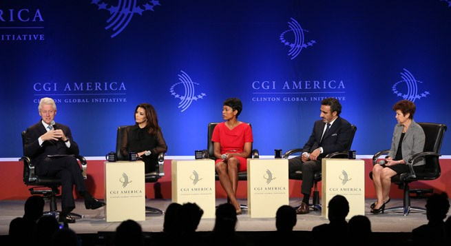 Laysha Ward, Target's president of Community Relations, sits with panel members at the CGI event.