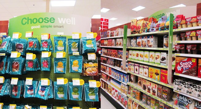 New 'Choose Well' grocery signage in Target stores.
