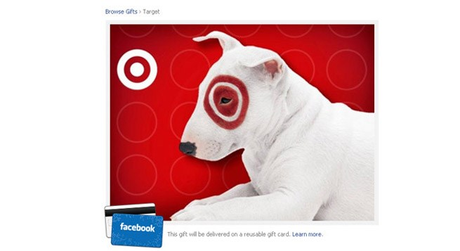 A screen shot from the Target GiftCard available for purchase on Facebook