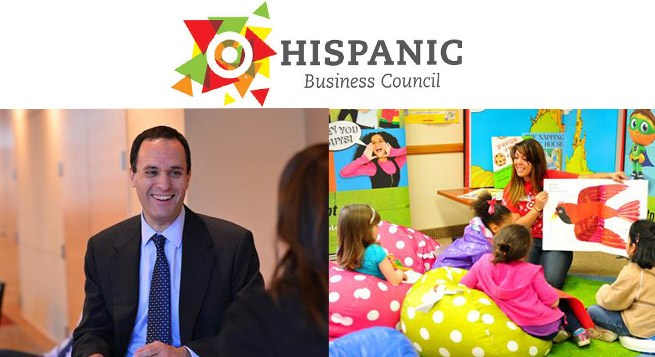 The Hispanic Business Council logo and event photos.