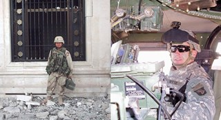 Team members Modesto Perez and Joe Wyte while serving in Iraq.