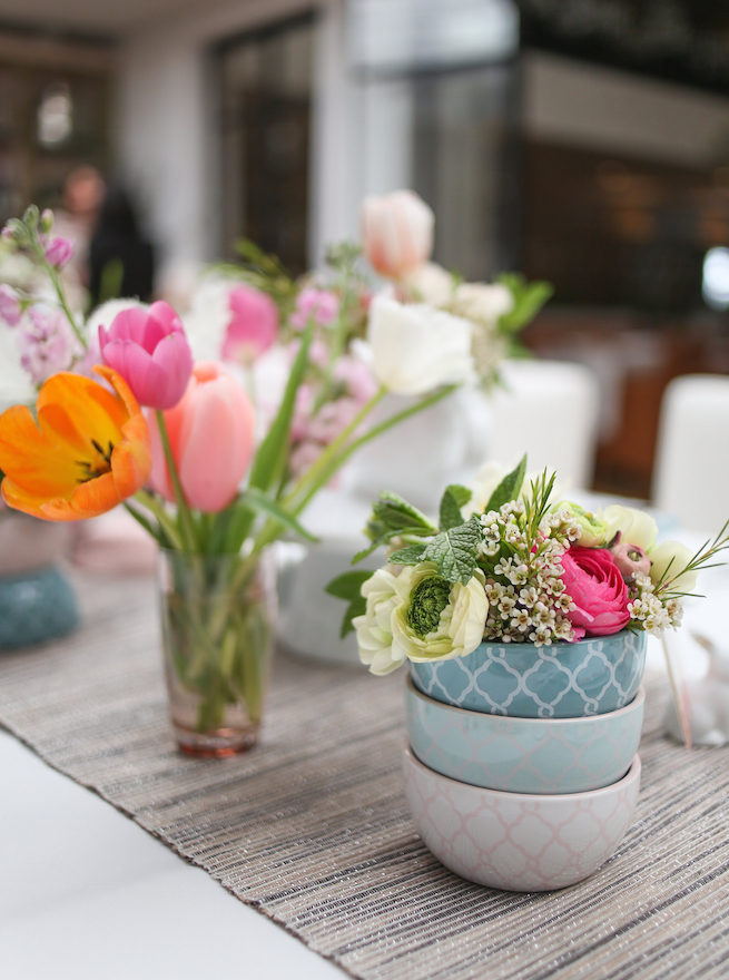 Flowers in Stacked Blue Bowls and Flowers in Clear Pink Tall Glass