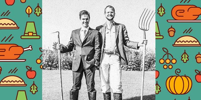 The Beekman Boys, Josh Kilmer-Purcell and Brent Ridge on their farm over a Thanksgiving food pattern
