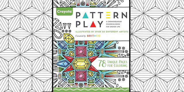 Crayola Pattern Play Coloring Book for Adults over black and white geometric background