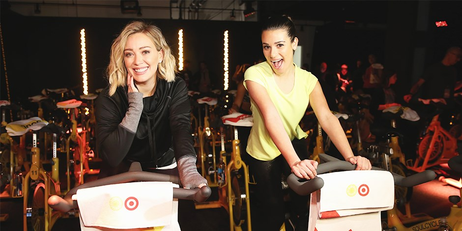 Hillary Duff and Lea Michele at Target x SoulCycle event