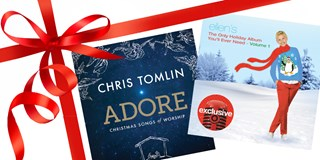 Chris Tomlin and Ellen Degeneres Target-Exclusive Holiday Album wrapped up in a red bow