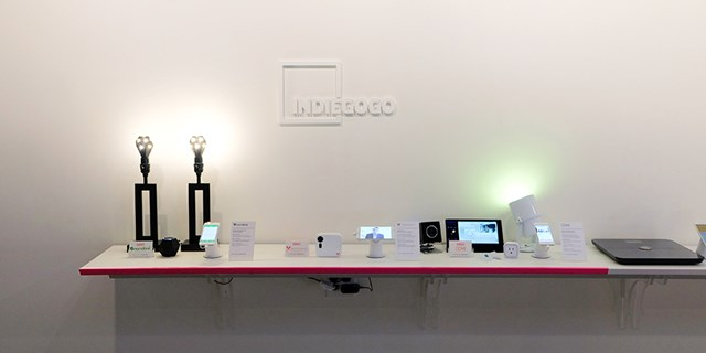 Table of gadgets at Open House Indiegogo Partnership Event
